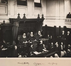 The first Chief Justice of Australia, Sir Samuel Griffith, is administered the judicial oath at the first sitting of the High Court, in the Banco Court of the Supreme Court of Victoria, 6 October 1903.