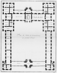 Floor plan (1752) shows the large enclosed cour d'honneur and the long Rubens gallery in the right wing
