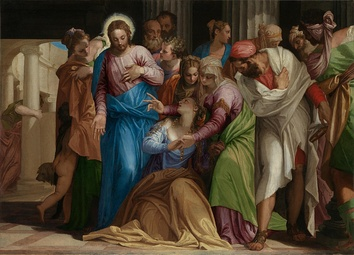 "The Conversion of Mary Magdalene (c. 1548) by Paolo Veronese. According to Gospel of Luke 8:2, Jesus exorcized ""seven demons"" from Mary Magdalene.[28][29][30]"