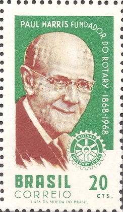 Paul Percy Harris on a 1968 stamp of Brazil