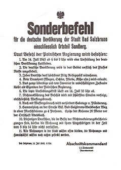 Polish authorities issued an order to the population of Bad Salzbrunn (Szczawno-Zdrój) to force them to immediately leave Poland on 14 July 1945, issued at 6 a.m. to be executed until 10 am