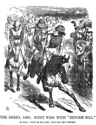 Disraeli and Gladstone Race to Pass the Reform Bill, Punch, 1867 The rivalry between Disraeli and Gladstone helped to identify the position of Prime Minister with specific personalities. (Disraeli is in the lead looking back over his shoulder at Gladstone.)