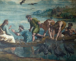 The Miraculous Draught of Fishes, 1515, one of the seven remaining Raphael Cartoons for tapestries for the Sistine Chapel (Victoria and Albert Museum)