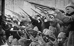 Revolutionaries attacking the Tsar's police during the first days of the revolution