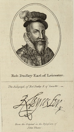 Robert Dudley. An 18th century copy of his portrait and autograph