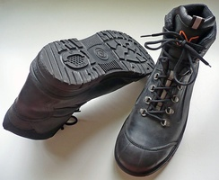 A pair of steel-toed safety boots