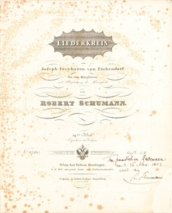 Frontpage of Robert Schumann's Liederkreis, op. 39, published 1842 in Vienna