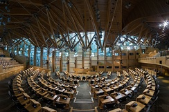 The debating chamber within the Scottish Parliament Building