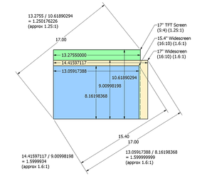 The area, height and width of displays with identical diagonal measurements vary dependent on aspect ratio.