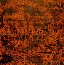 A portion of the 814 death shroud of Charlemagne. It represents a quadriga and was manufactured in Constantinople.