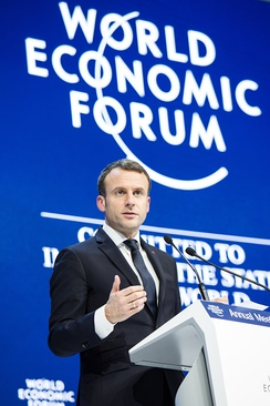 Macron addressing the World Economic Forum 2018 in Davos, Switzerland