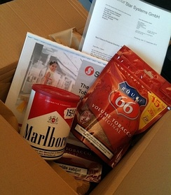 Box offered by tobacco lobbyists to Dutch Member of the European Parliament Kartika Liotard in September 2013