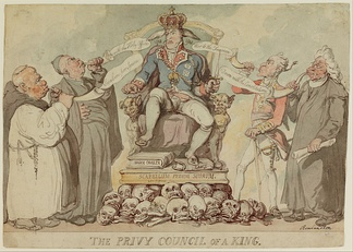 Privy Council of a King by Thomas Rowlandson. 1815