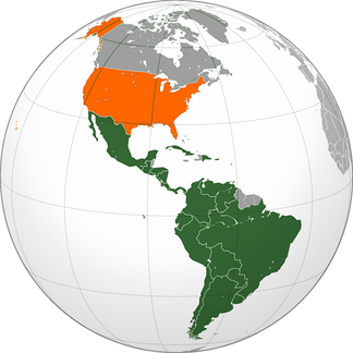 Map of the United States of America (in orange) and Latin America (in green)