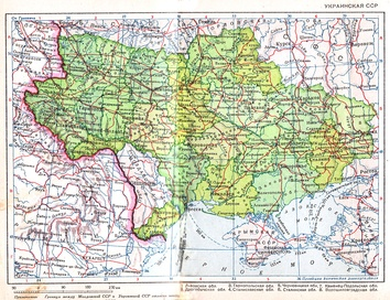 Ukrainian SSR in 1940 after the Soviet annexation of Eastern Galicia, Volhynia and Northern Bukovina