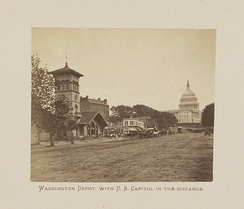 The Washington Depot with the U.S. Capitol in the distance (1872 view)