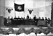 Vilnius Conference in 1917 with the flags of Vytis (Pahonia)
