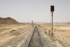 The Hejaz railway track near Wadi Rum in Jordan. Jordan uses the railway today for transporting phosphate.