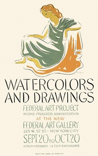 September 20: The Federal Art Project opens a Watercolors and Drawings show at  the new Federal Art Gallery, NYC