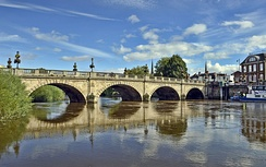 River Severn, seen here in Shrewsbury, is the primary watercourse in the county.