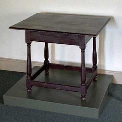 In 1688, at this table in Germantown, Philadelphia, Quakers and Mennonites signed a common declaration denouncing slavery