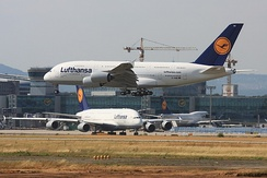 Two Lufthansa Airbus A380s at Frankfurt Airport