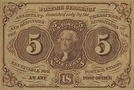Jefferson on 5 cent fractional postage note