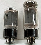 A pair of 6L6GC power valves, often used in American-made amplifiers