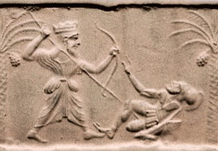 Achaemenid king killing a Greek hoplite. Impression from a cylinder seal, sculpted c. 500 BC–475 BC, at the time of Xerxes I Metropolitan Museum of Art