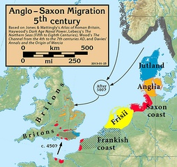 Possible routes of Anglo-Saxon migration in the 5th/6th centuries