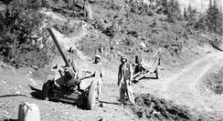 Afghans with two captured artillery field guns in Jaji, 1984.