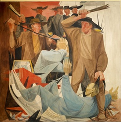 Anton Refregier's Beating the Chinese  mural in San Francisco's Rincon Center depicts the ethnic violence in the San Francisco riot of 1877