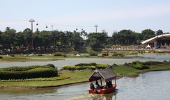 Boat ride at Indonesian archipelago lake in Taman Mini Indonesia Indah