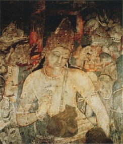 Over life-size figure of the bodhisattva Padmapani, cave 1, Ajanta Caves, 5th century