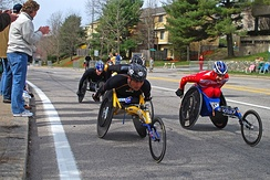A pack of Wheelchair Division participants in the 2009 Boston Marathon