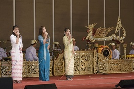 Classical Burmese singers perform at a state luncheon reception in Naypyidaw.