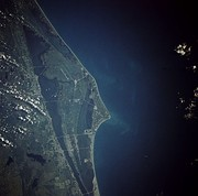 Cape Canaveral as seen from orbit by a Space Shuttle in 1991