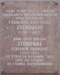 A plaque on a house in Vilnius where Stendhal stayed in December 1812 during Napoleon's retreat from Russia.