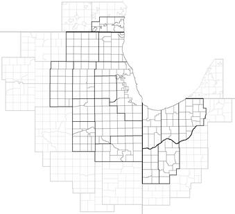 The extent of the 16-county Chicago CSA (in black) and the 16 counties that share a border with the Chicago CSA (in gray), with counties divided into Minor Civil Divisions. In Illinois and Indiana, townships are intermediate between counties and municipalities (with the latter lying within townships and crossing township borders, while in Michigan and Wisconsin, townships are municipal equivalents.