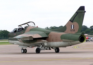 A-7 Corsair II aircraft made by Ling-Temco-Vought. This example, a former US Navy aircraft, was photographed at a British airshow in 2005. It was retired from service by 2014 from the Hellenic Air Force (Greece).