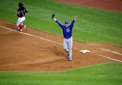 Chicago Cubs first baseman Anthony Rizzo celebrates the final out of Game 7 of the 2016 World Series, after his putout