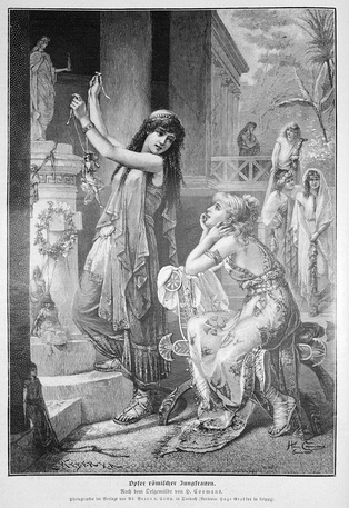 Romanticized depiction from 1887 showing two Roman women offering a sacrifice to a pagan goddess. Ritual sacrifice was an integral part of ancient Graeco-Roman religion[1] and was regarded by many early Christians as a determiner of whether a person was pagan or Christian.[1]