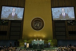 Russian President Dmitry Medvedev addresses the 64th session of the UN General Assembly on 24 September 2009