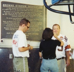 Carey preparing for a TV broadcast at the dedication of Cleveland Browns Stadium, September 1999