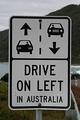A sign reminding motorists to keep left in Australia
