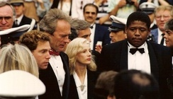 Clint Eastwood with actors Michael Zelniker and Forest Whitaker, and then-partner Sondra Locke, promoting the film at the 1988 Cannes Film Festival.