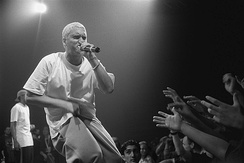 Eminem (pictured in 1999) wrote the majority of The Marshall Mathers LP while in the studio.