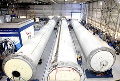Falcon 9 v1.1 rocket cores under construction at the SpaceX Hawthorne facility, November 2014.