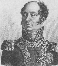 Black and white print of a bald man with a cleft chin wearing a general's uniform of the Napoleonic era.