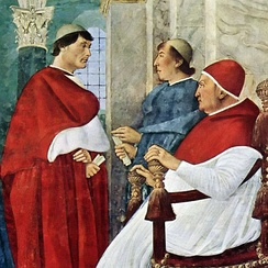 Julius II as cardinal (left), with uncle and patron Pope Sixtus IV (right)